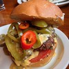 Green chile cheeseburger at the new Blue Goose on SE Ankeny & 28th (formerly Esparzas ). 1/2 lb angus beef patty, aged white cheddar cheese, roasted Hatch green chiles, marinated tomatoes, chorizo con queso on brioche bun. Wow! Just vaulted into my top 5