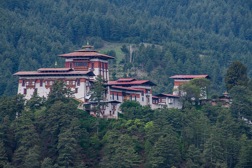 Jakar Dzong looms up above the trees (color)