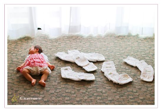 おむつアート 赤ちゃん写真 1才記念 岐阜県美濃市 出張撮影 自宅 女性カメラマン ロケーション撮影