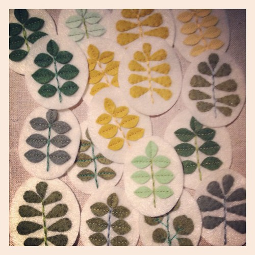 Still sewing sprout & pod brooches. #migrationgoods #excitingFridaynights #wip
