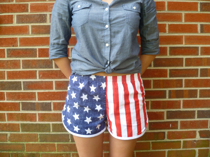 Patriotic American Flag Prefontaine Shorts - front close up by Hey, It's SJ