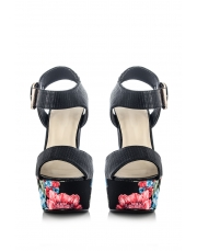 Quiz Floral Chunky Heels