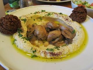 The 'Boss' - hummus, mushrooms, falafel with a small salad at Zaatar Hummus Bar