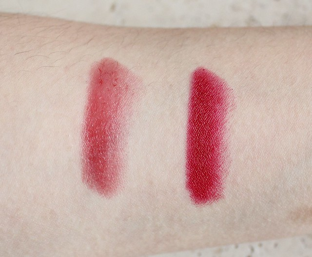 Revlon lacquer balm in enticing and matte balm in standout review and swatches