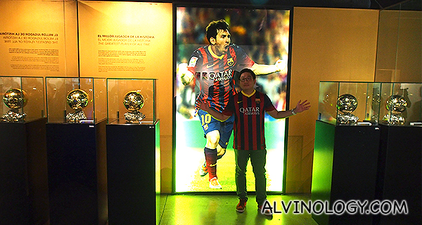 Me with Lionel Messi's 4 x Ballon D'or trophies