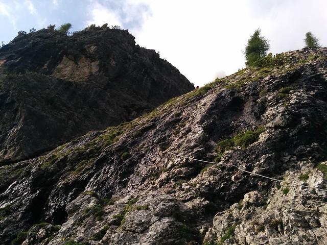 Der Einstieg im Pisciadù Klettersteig