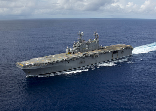 "SANTA RITA, Guam (NNS) -- Amphibious assault ship USS Peleliu ""Iron Nickel"" (LHA 5), the U.S. Navy's only remaining Tarawa class ship, pulled into Guam for a four-day port visit."
