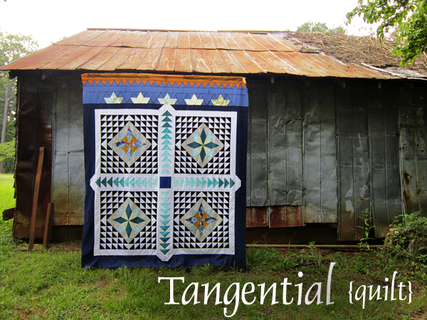 Tangential queen-sized quilt