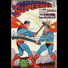 Ah, yes, the ol' sledge hammer to the head. His hair doesn't even move! #Superman #comicbooks