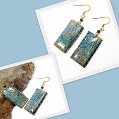 polymer clay Crackle Layered Earrings