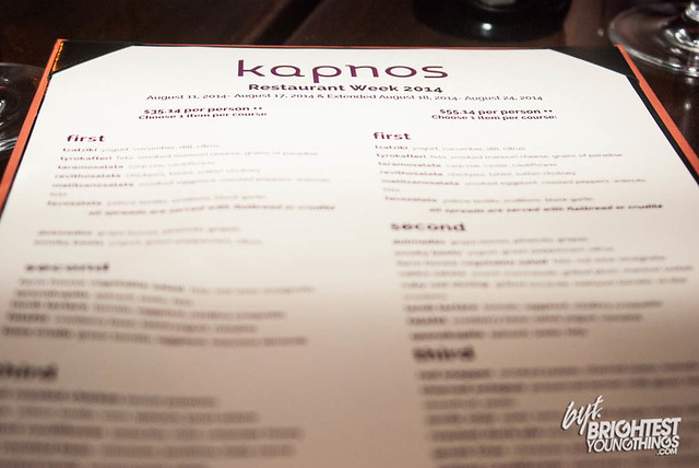 Kapnos Restaurant Week Menu