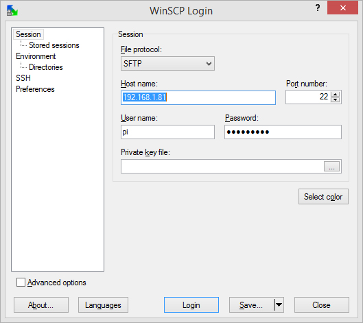 how to connect send file to scp address
