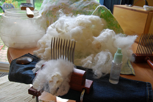 Hand-combing station for Ontario Romney lamb's wool