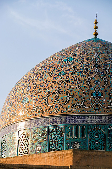 Dome of Sheikh Lotfollah mosque before sunset, Isfahan イスファハン、日没前のマスジェデ・シェイフ・ロトゥフォッラー