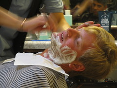 Bridegroom gets his hot lather shave