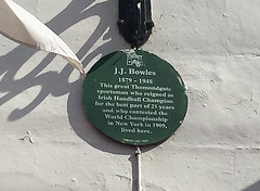 Photo of J.J. Bowles green plaque