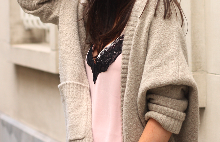 lace cami oversized cardigan