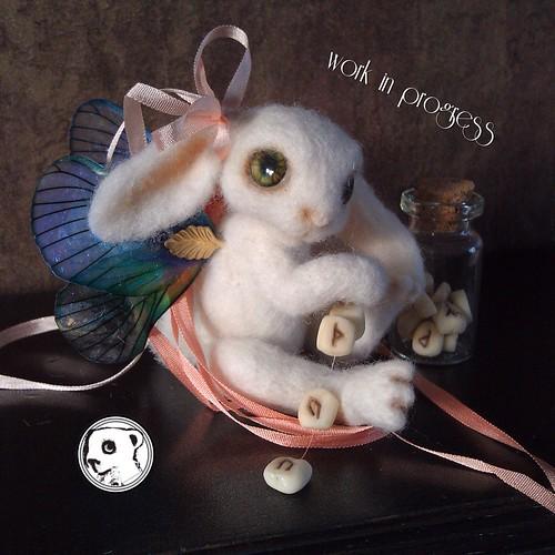 Needlefelted winged mystic bunny