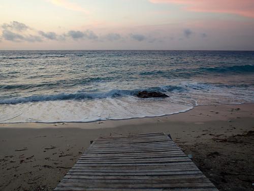 sunset sea beach island greece boardwalk ionian
