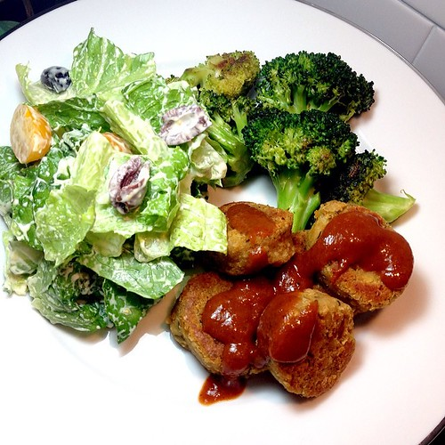 Dinner: Chickpea Nuggets, BBQ Sauce, Braised Broccoli, Caesar Salad w. Olives & Tomatoes www.good-good-things.com #vegan #veganfoodshare #veganmofo #veganmofo2014