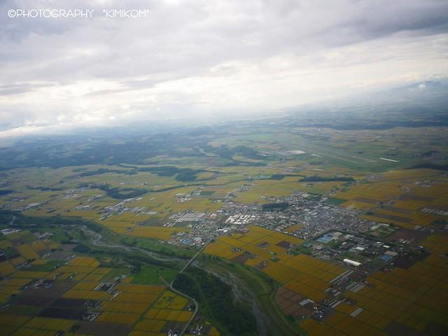 旭川空港 離陸後 東神楽町の田園地帯
