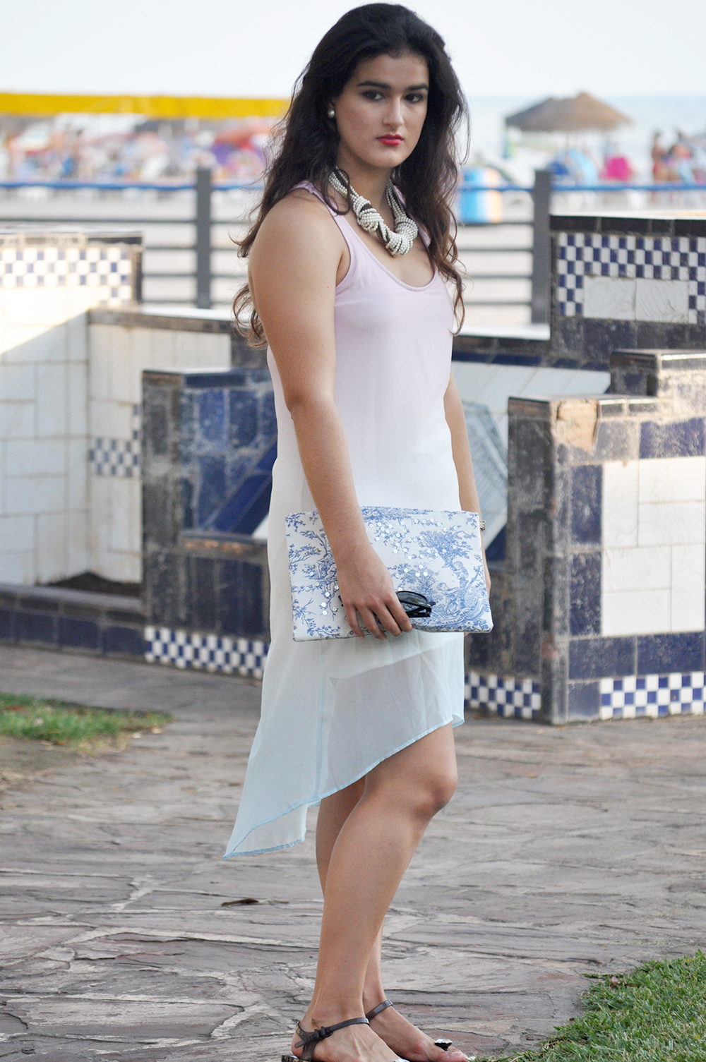 oropesa del mar something fashion town blogger, diy clutch how to toile de jouy, amanda ramon mango dress valencia streetstyle ombre dress summer, jellies gloria ortiz necklace carolina herrera spain fblogger