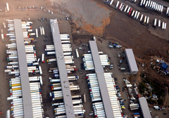 Extreme logistics - amazingly huge cross-docking facility in western Moscow. How many trailers can you count?