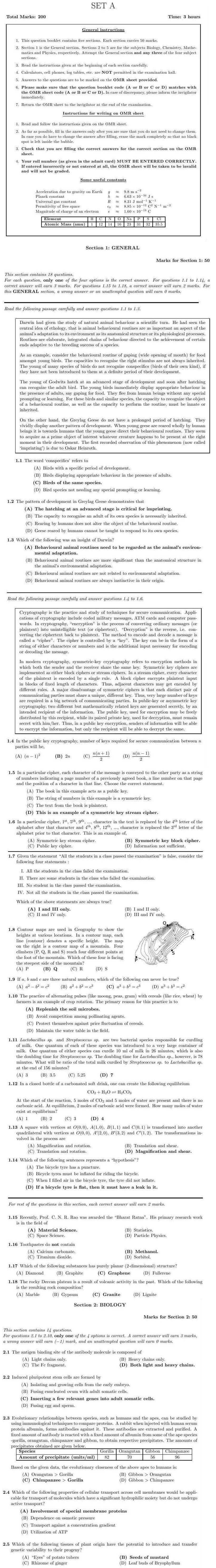 NEST 2013 Question Papers with Answers - SET A