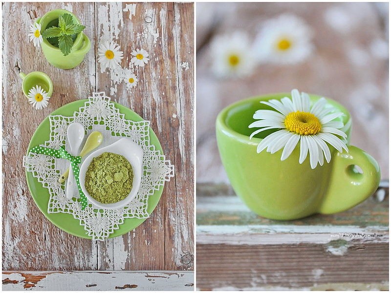 ...green matcha and chamomile collage
