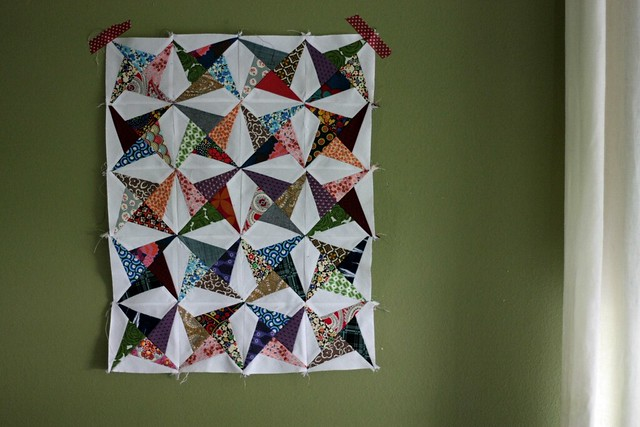 scrappy mini quilt top