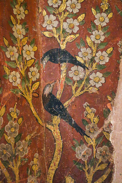 Flowers and birds paintings in Hasht Behesht palace, Isfahan イスファハン、ハシュト・ベヘシュト宮殿内部の壁画
