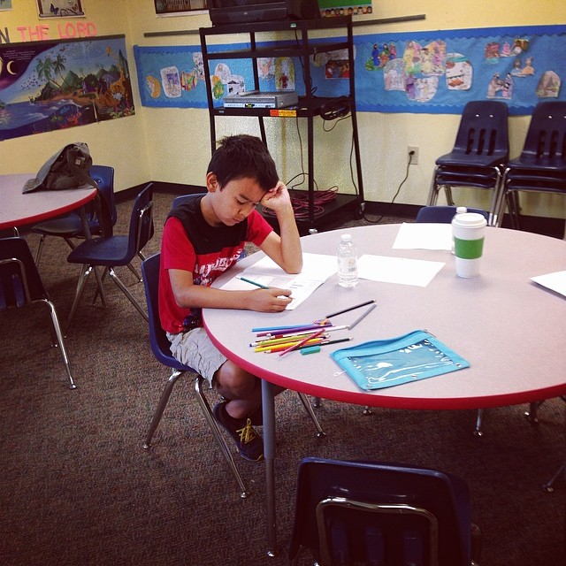 Caleb doing his end of grade test. Required by the state of Georgia. He was nervous :) #homeschool
