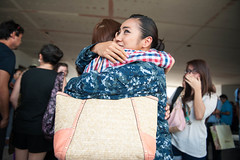 Yeoman 2nd Class Hannah Herrera meets her family for the first time in five years at the Tacloban City Airport. (U.S. Navy/MC2 Karolina A. Oseguera)