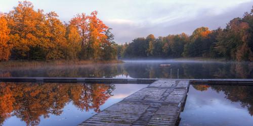 morning autumn mist fall forest reflections river sweden jetty sverige stångån östergötland sigma1020mmf456exdchsm bjärkasäby canoneos40d