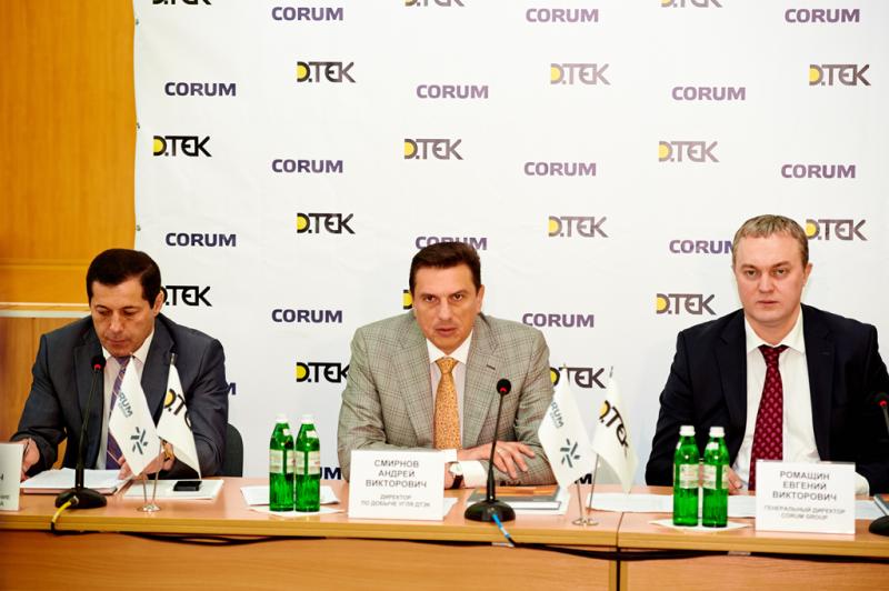 пресс-конференция при участии Смирнова, Ромащина, Мкртчяна и Мерзликина, по поводу передачи новой подъемной машины.
