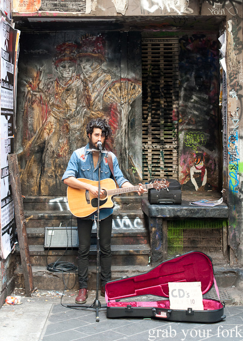 Busker in Flinders Lane, Melbourne