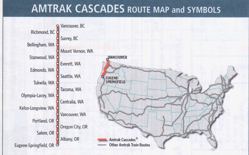 Amtrak Cascades 2014 Map