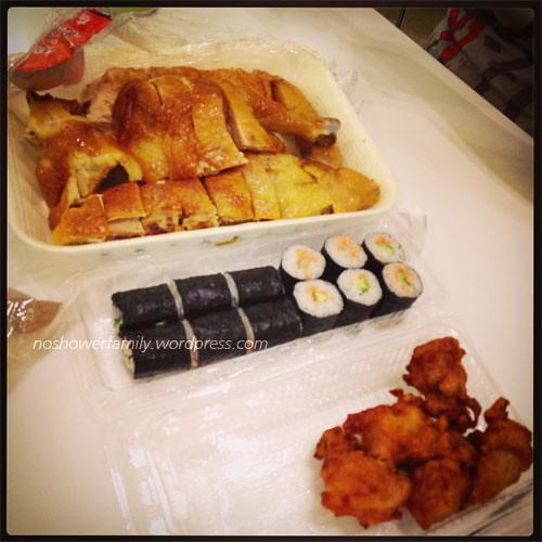 Tuna sushi, fried chicken, smoky chicken