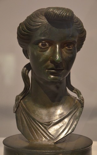 Bronze bust of Livia, late 1st century BC - early 1st century AD, discovered in Neuilly-le-Real (France), Moi, Auguste, Empereur de Rome exhibition, Grand Palais, Paris