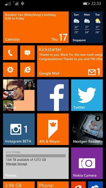 Nokia Lumia 930 - WP8.1 Home Screen