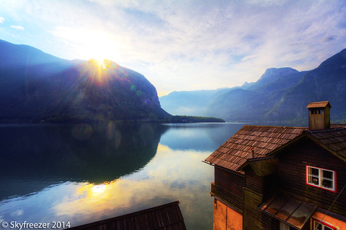 mountains alps beautiful sunrise landscape austria amazing village picturesque autriche hallstatt 奥地利 skyfreezer