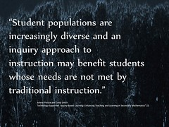 """Educational Postcard:  """"Inquiry based instruction levels the playing field"""""""