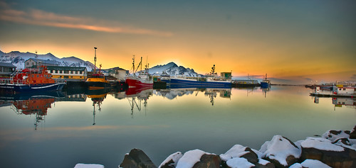 Sunset on Hofn harbour, Iceland