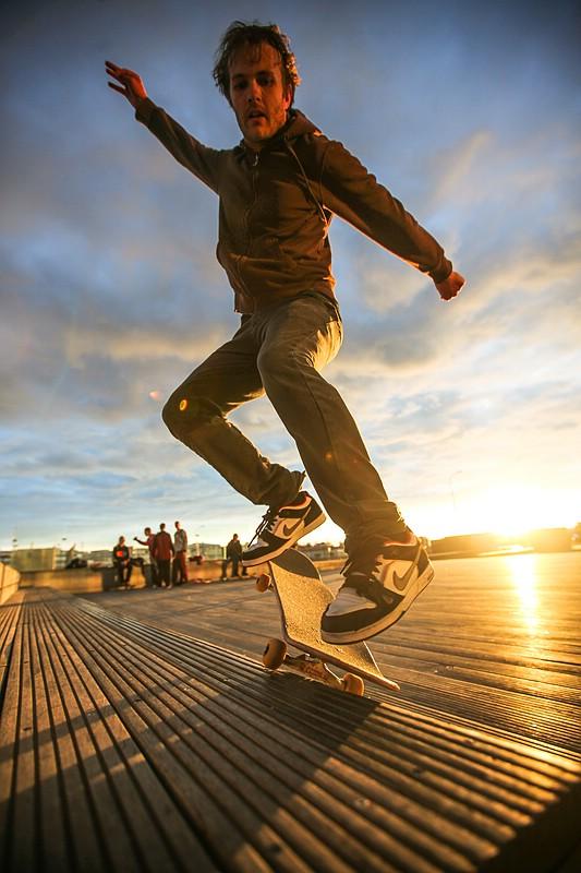 Skaterboarder at Harpa concert hall
