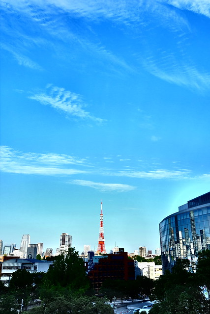 blue sky with Tokyo Tower