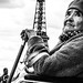 Disabled old woman at Eiffel Tower, Paris 2014