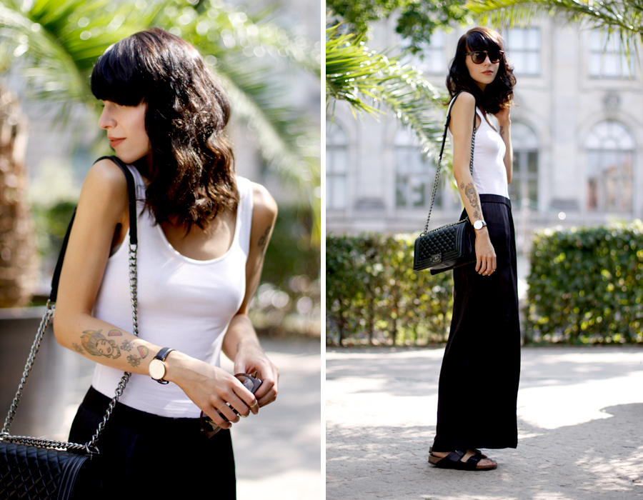 Ripped top black silk pants summer palm holidays chanel le boy boybag outfit daniel wellington gucci fashionblogger Ricarda Schernus CATS & DOGS 6