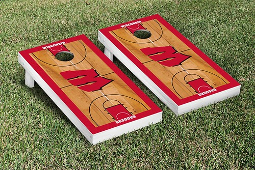 Wisconsin Badgers Cornhole Game Set Basketball Court Version