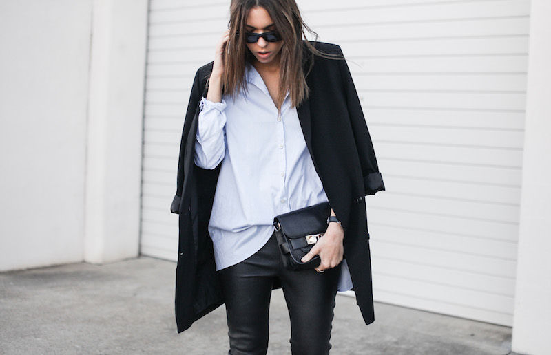 modern legacy fashion blog Australia street style Theory leather leggings Hope man style shirt boyfriend blazer Celine slide sandals Proenza Schouler PS11 mini bag work wear (6 of 12)
