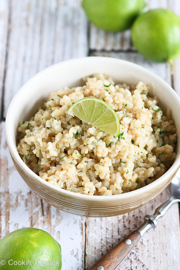 Easy Cilantro Lime Brown Rice...Tuck this into burritos or serve it as a side dish.  Fantastic flavor! | cookincanuck.com #glutenfree #vegan #vegetarian